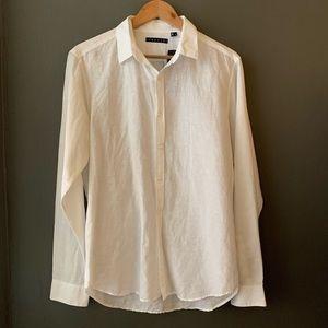 THEORY crisp white linen button up shirt